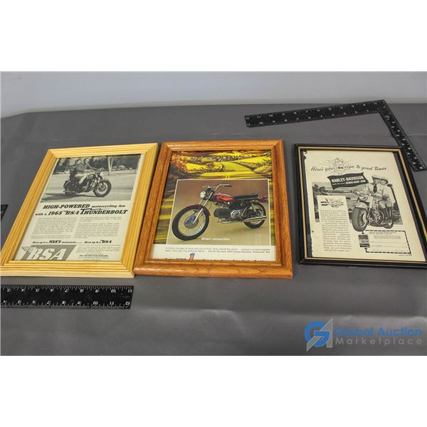 (3) Framed Motorcycle Advertisements