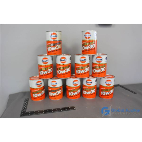 (11) Gulf Motor Oil Cans