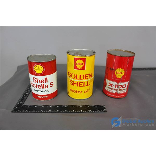 (3) Shell Motor Oil Cans