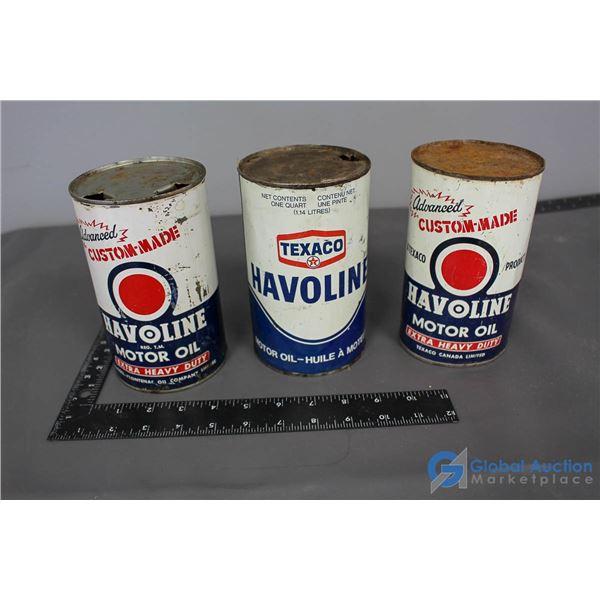 (3) Havoline Motor Oil Cans