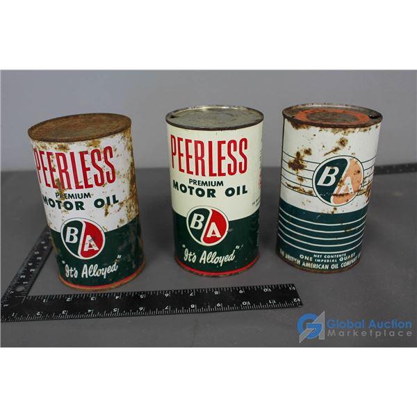(3) BA Motor Oil Cans