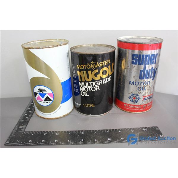 (3) Motor Oil Cans