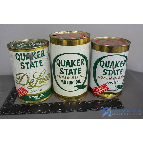 (3) Quaker State Motor Oil Cans