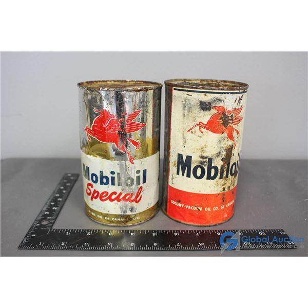 (2) Mobiloil Cans