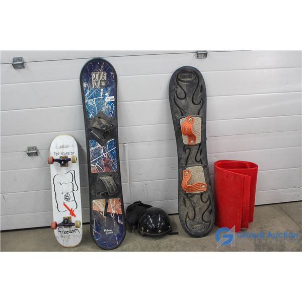 (2) Snowboards, (1) Skateboard, Crazy Carpets & Accessories