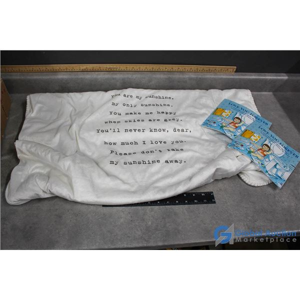 Baby Blanket & (2) Robert Munsch Love You Forever Books