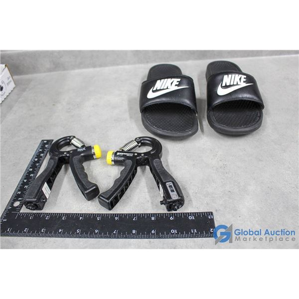 (2) Everlast Adjustable Grip Strengthener w/ Counter; Nike Slip-On Sandals (Size 10)