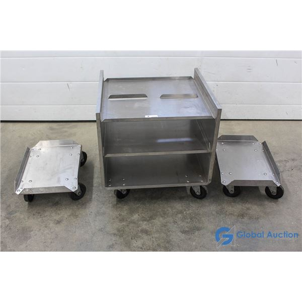 **(2) Stainless Steel 4 Wheel Dolly's & Stainless Steel 4 Wheel Work Cart w/ 2S Shelves