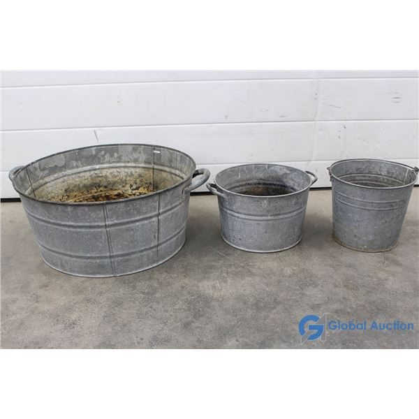 "**29"" Galvanized Round Tub; 12.5"" Galvanized Tub & Galvanized Pail w/Handle"