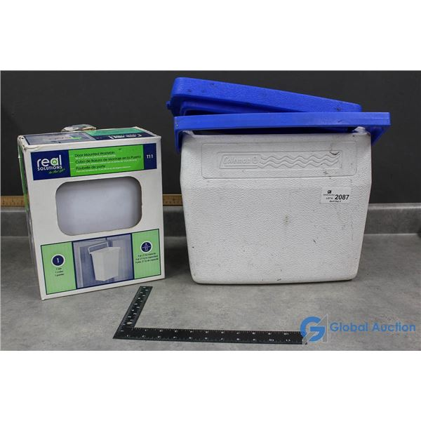 Small Coleman Hard Cooler & Door Mounted Wastebin by Real Solutions