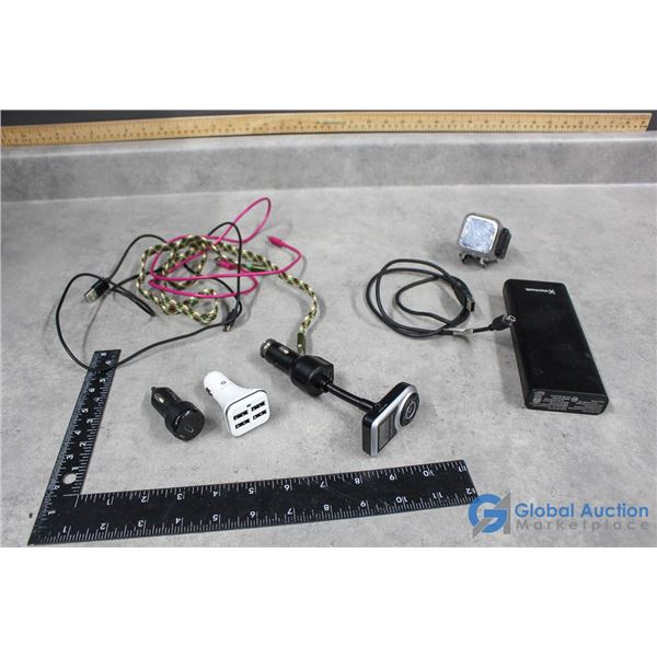 Chargers, Car Adaptors, Blackweb Powerbank & Polaroid Go Pro Looking Camera