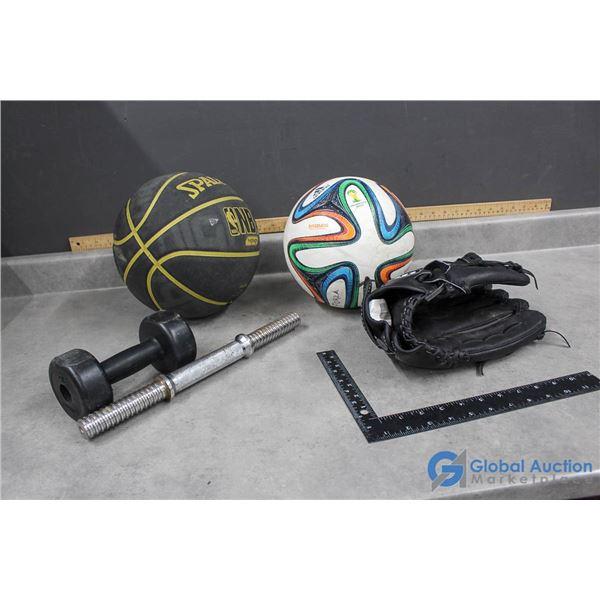 Spalding Basketball, Adidas Soccer Ball, Wilson Lefty Glove