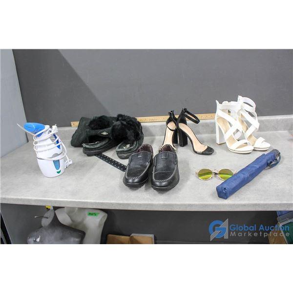 (3) Pairs of Shoes, Sunglasses, Umbrella & Conair Steamer