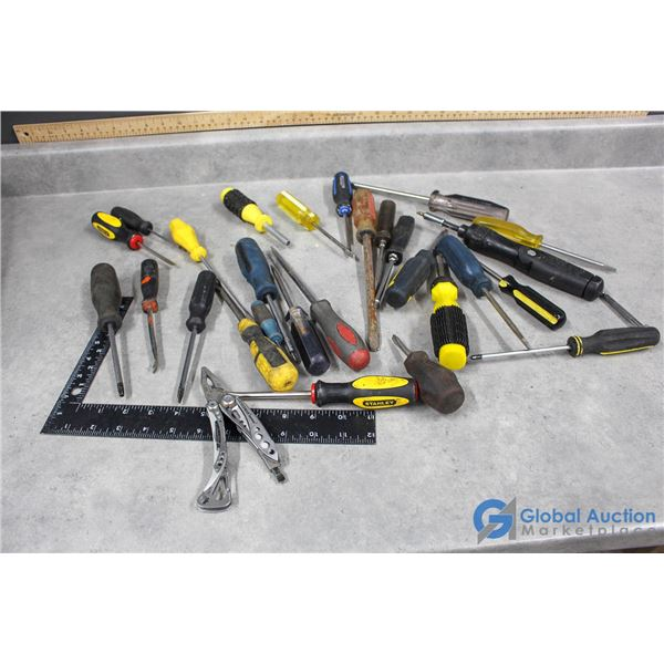 Assorted Screwdrivers & Utility Knife