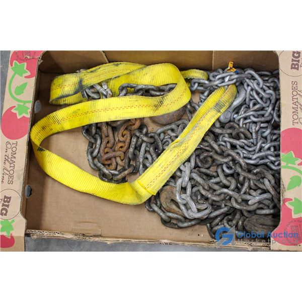 Box of Assorted Chains & Straps