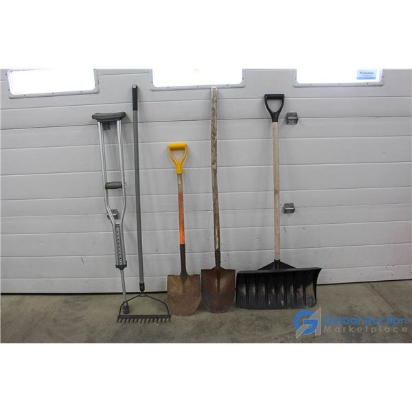 Assorted Yard Tools & Aluminum Crutches