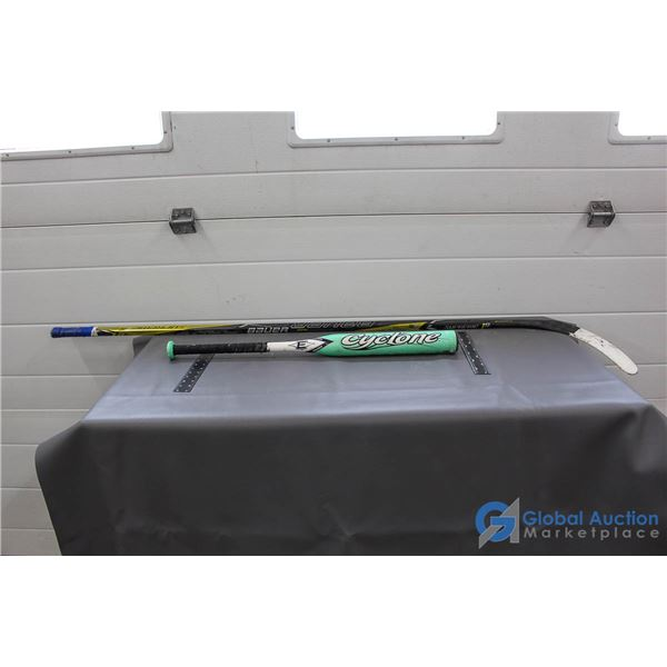 "Bauer Senior Left Handed Hockey Stick & Easton 29"" Aluminum Bat"