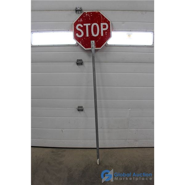 STOP/SLOW Metal Sign on Pole