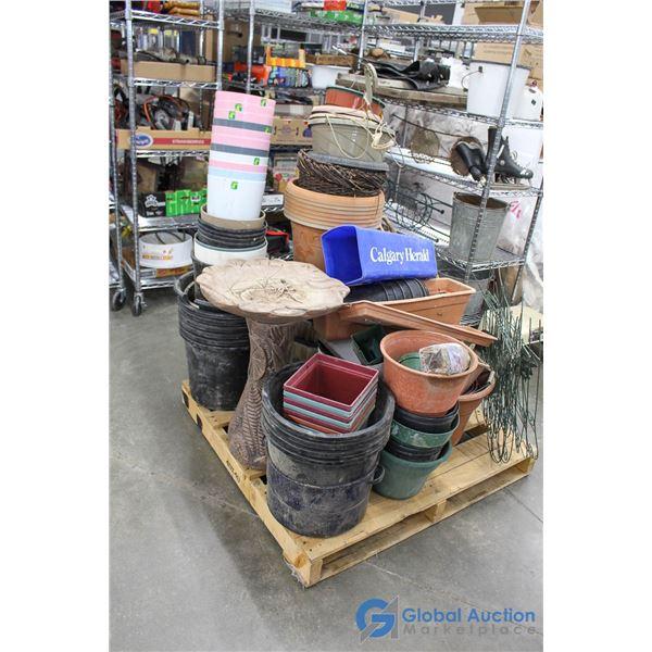 Pallet of Garden Pots, Fencing, Decor, Bird Bath