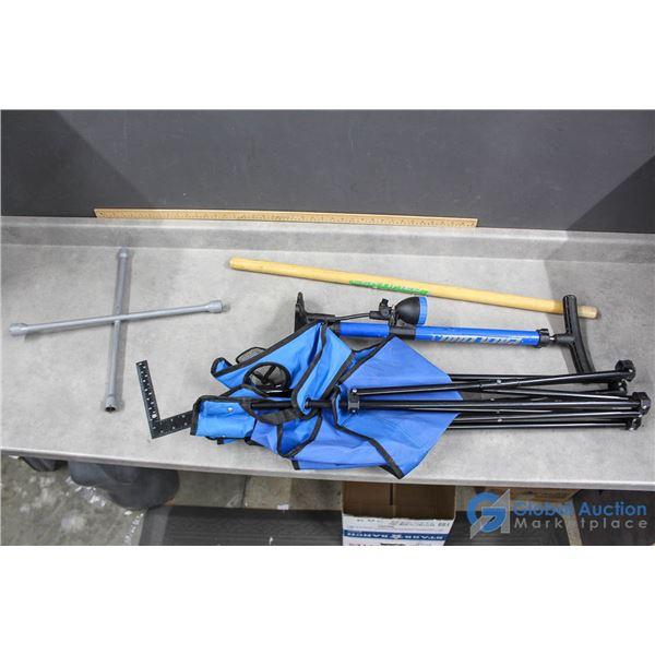Pump, Folding Chair, & Tire Iron