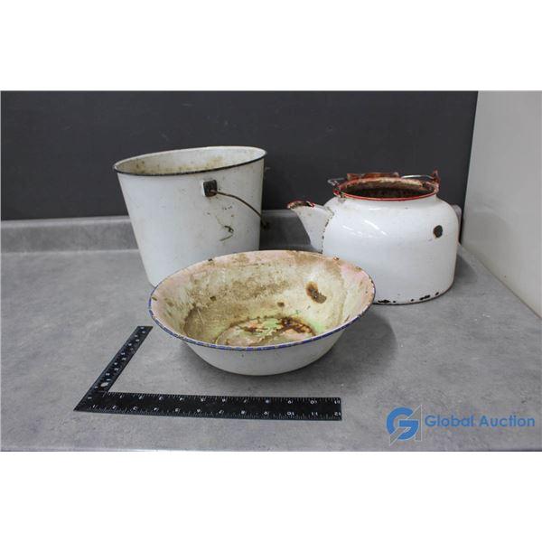 (3) Vintage Enamel Pieces - Pail, Bowl & Pot