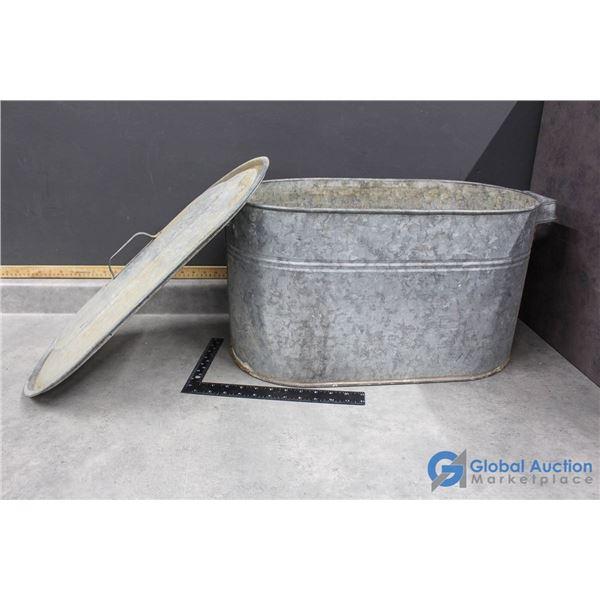 Galvanized Tub w/Lid