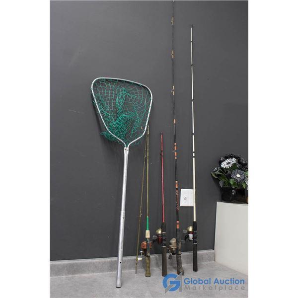 (4) Fishing Rods w/Reels & Net