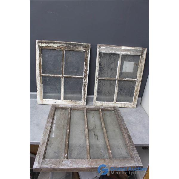 (3) Vintage Wood Framed Windows