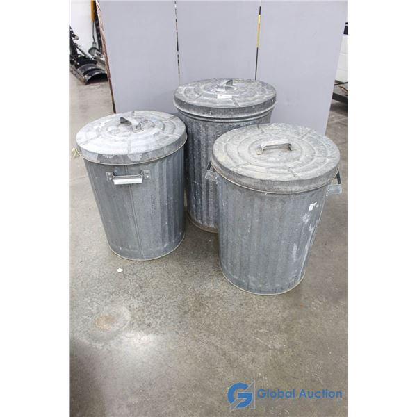 **(3) Galvanized Steel Garbage Cans