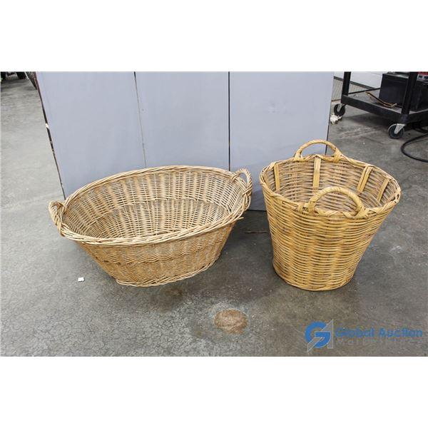 **(1) Large & (1) Round Wicker Laundry Basket