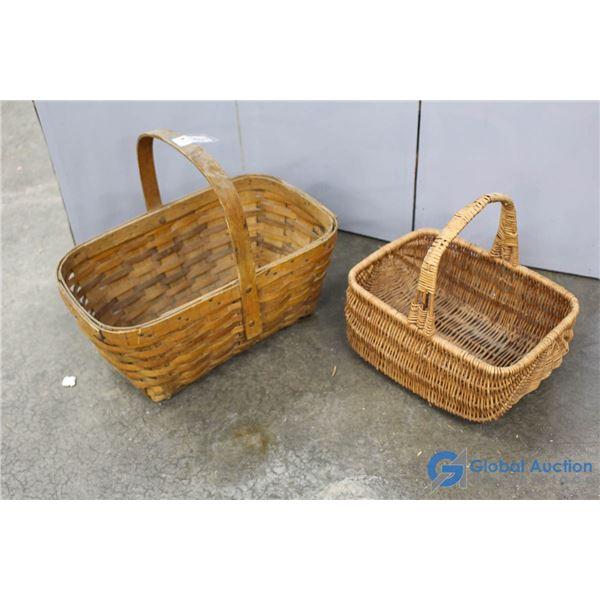 **(2) Wicker Picnic Baskets