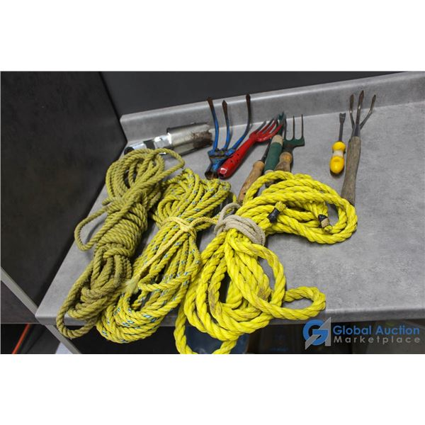 Garden Tools & (3) Lengths of Rope