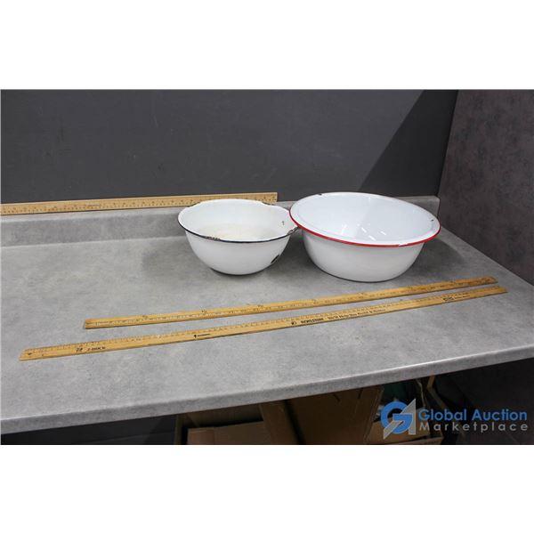 (2) Enamel Bowls & (2) Metre Sticks
