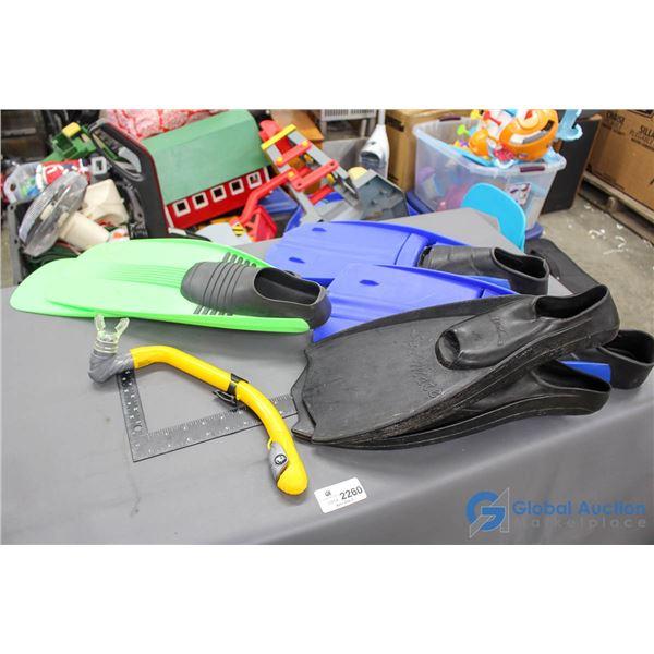 (3) Pairs of Rubber Flipper & Snorkeler
