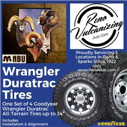 Set of Tires, Goodyear Wrangler Duratrac Tires from Reno Vulcanizing Works