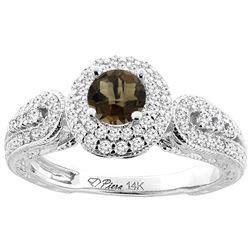 1.06 CTW Quartz & Diamond Ring 14K White Gold - REF-88K8W
