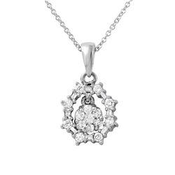 Natural 0.50 CTW Diamond & Baguette Necklace 14K White Gold - REF-54X2T