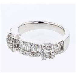 Natural 1.03 CTW Diamond & Baguette Ring 18K White Gold - REF-173X7T