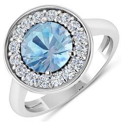 Natural 1.98 CTW Aquamarine & Diamond Ring 14K White Gold - REF-79W7X