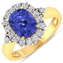 Natural 2.64 CTW Tanzanite & Diamond Ring 14K Yellow Gold - REF-103N3R