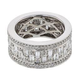 Natural 2.89 CTW Baguette & Diamond Ring 18K White Gold - REF-434R7K