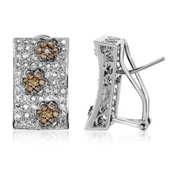 Natural 1.50 CTW Brown Round Diamond Earrings 14K White Gold - REF-141X3T