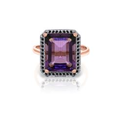 Genuine 5.8 ctw Amethyst & Black Diamond Ring 14KT Rose Gold - REF-79A8K