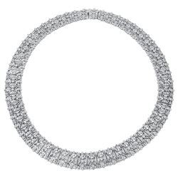 Natural 5.18 CTW Diamond Necklace 18K White Gold - REF-1408M5F