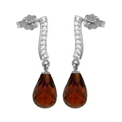 Genuine 4.78 ctw Garnet & Diamond Earrings 14KT White Gold - REF-46F2Z