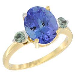 2.63 CTW Tanzanite & Green Sapphire Ring 10K Yellow Gold - REF-57N2Y