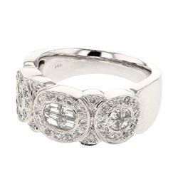 Natural 1.08 CTW Diamond & Baguette Ring 14K White Gold - REF-182H7W