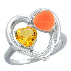 1.31 CTW Citrine & Diamond Ring 10K White Gold - REF-23M5A