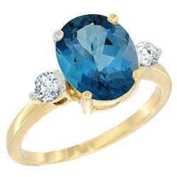 2.60 CTW London Blue Topaz & Diamond Ring 14K Yellow Gold - REF-69W3F