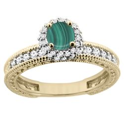1.71 CTW Malachite & Diamond Ring 14K Yellow Gold - REF-66V2R